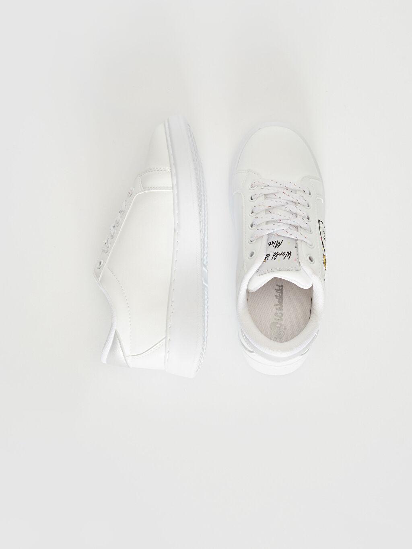 %0 Diğer malzeme (poliüretan)  Kız Çocuk Nakış Detaylı Günlük Ayakkabı