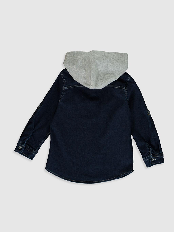 %63 Pamuk %33 Polyester %4 Elastan Standart Uzun Kol Düz Erkek Çocuk Jean Gömlek
