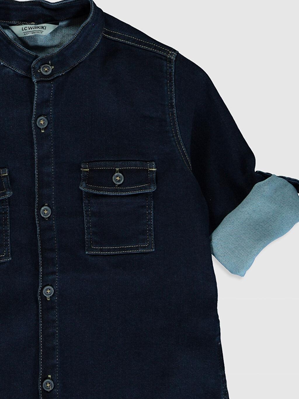 %63 Pamuk %33 Polyester %4 Elastan Erkek Çocuk Jean Gömlek