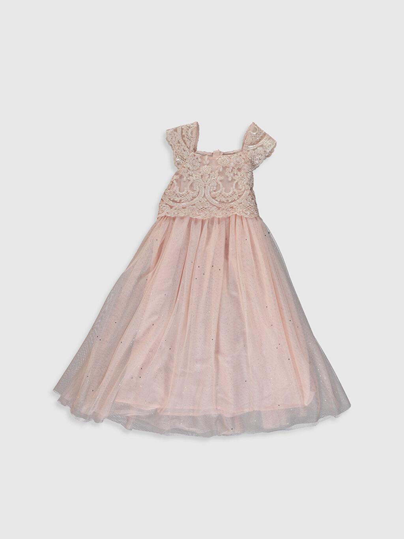 %100 Polyester %100 Pamuk Diz Altı Desenli Kız Çocuk Dantel Detaylı Tüllü Elbise
