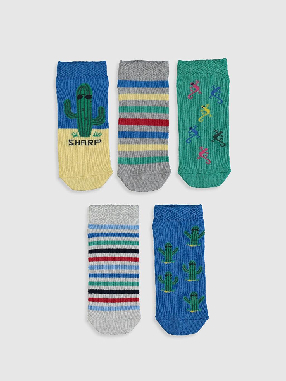 %63 Pamuk %19 Polyester %16 Poliamid %2 Elastan  Erkek Çocuk Patik Çorap 5'li
