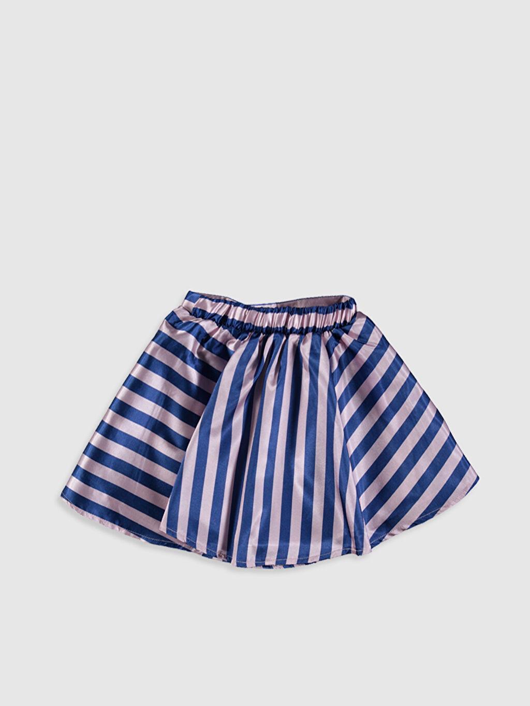 %100 Polyester %60 Pamuk %40 Polyester Diz Üstü Çizgili Kız Çocuk Çizgili Saten Etek