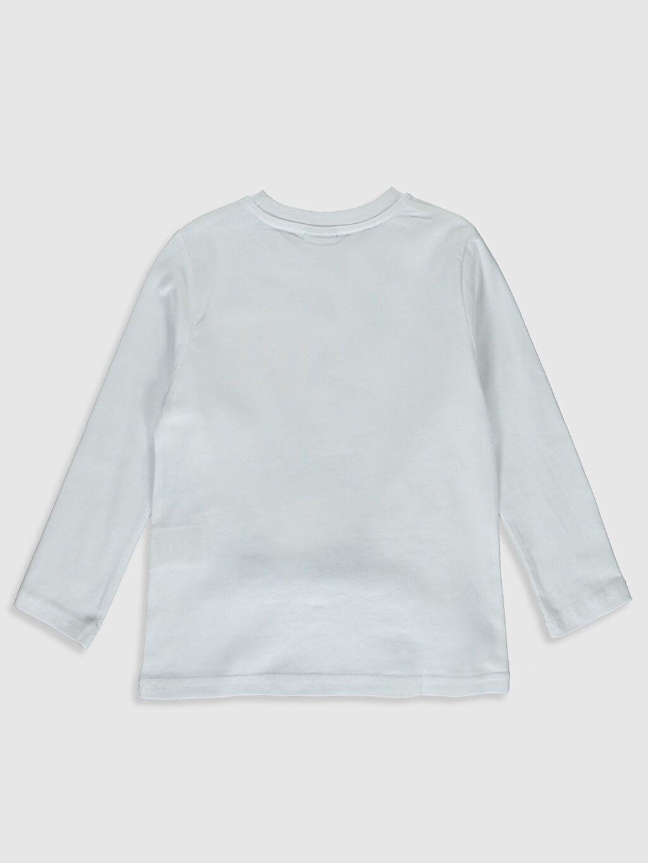 %100 Pamuk Tişört Uzun Kol Baskılı Normal Bisiklet Yaka Erkek Çocuk Baskılı Pamuklu Tişört