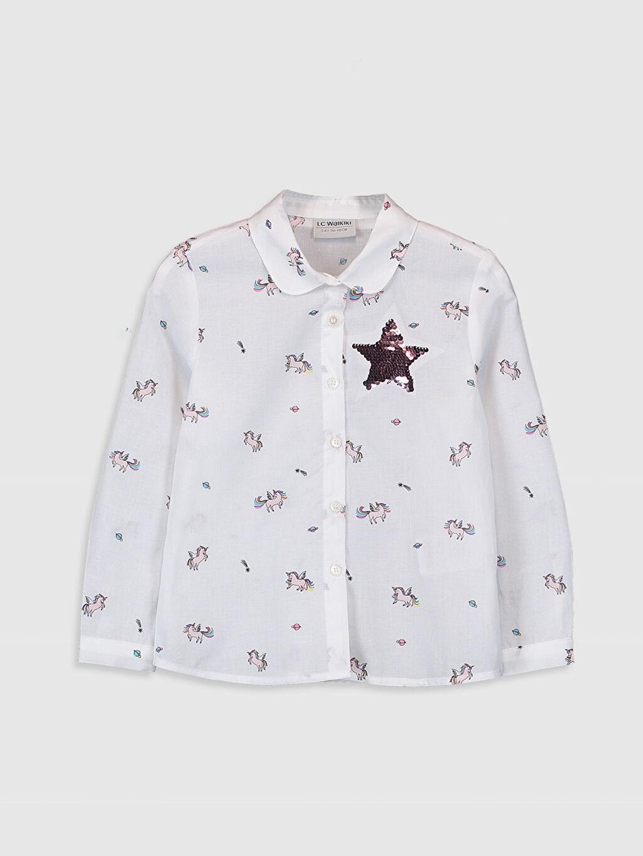 Ekru Kız Çocuk Unicorn Desenli Pamuklu Gömlek 0S4300Z4 LC Waikiki