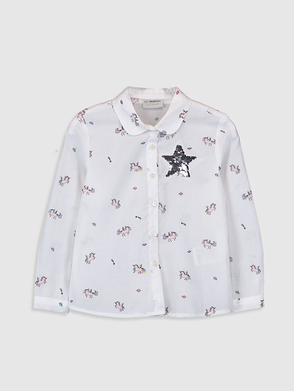 %100 Pamuk  Kız Çocuk Unicorn Desenli Pamuklu Gömlek
