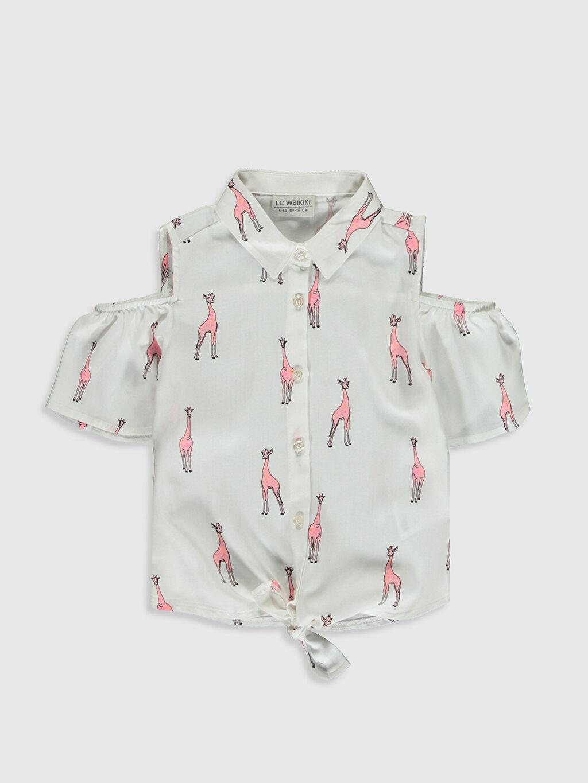 Ekru Kız Çocuk Omuzu Açık Viskon Gömlek 0S4339Z4 LC Waikiki