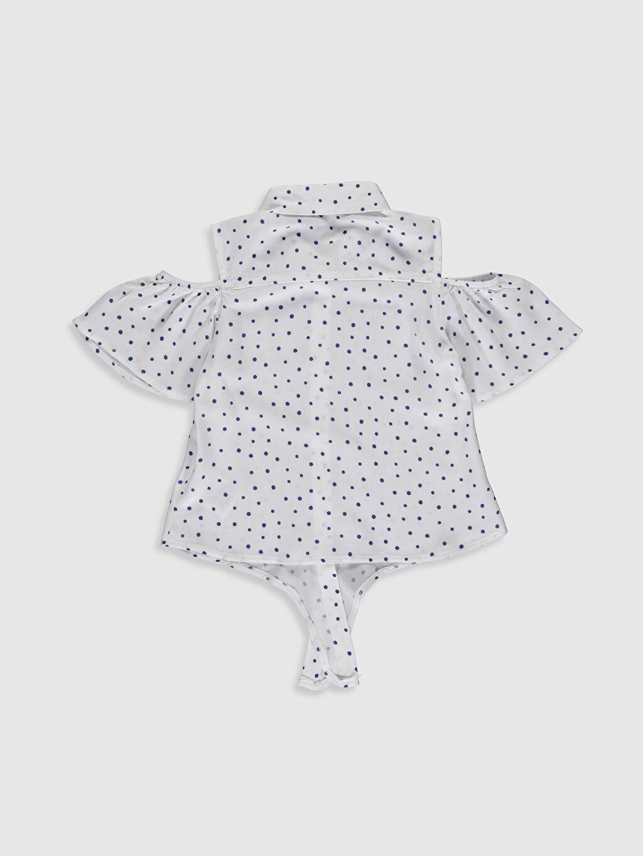 %100 Viskoz Desenli Standart Kısa Kol Kız Çocuk Omuzu Açık Viskon Gömlek