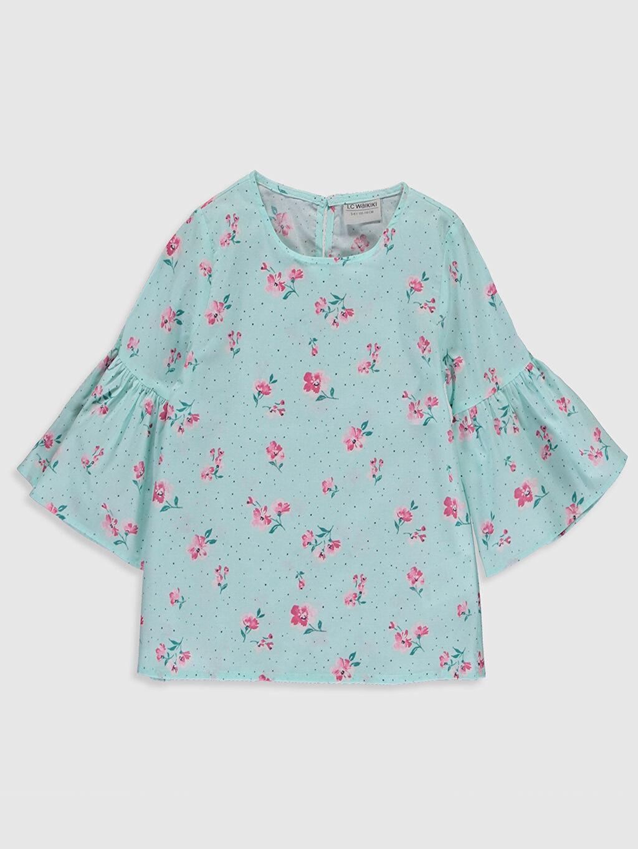 Yeşil Kız Çocuk Çiçekli Pamuklu Bluz 0S4345Z4 LC Waikiki