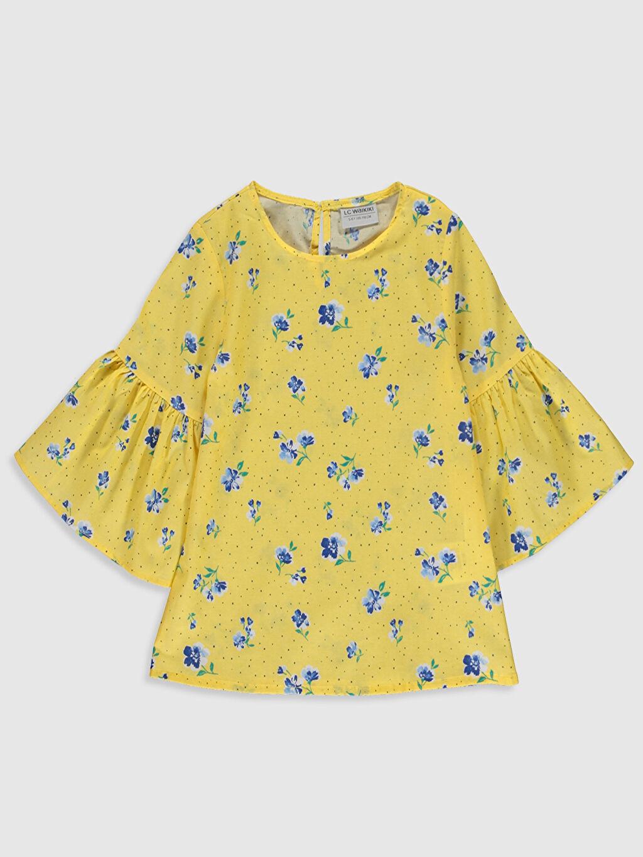 Sarı Kız Çocuk Çiçekli Pamuklu Bluz 0S4345Z4 LC Waikiki