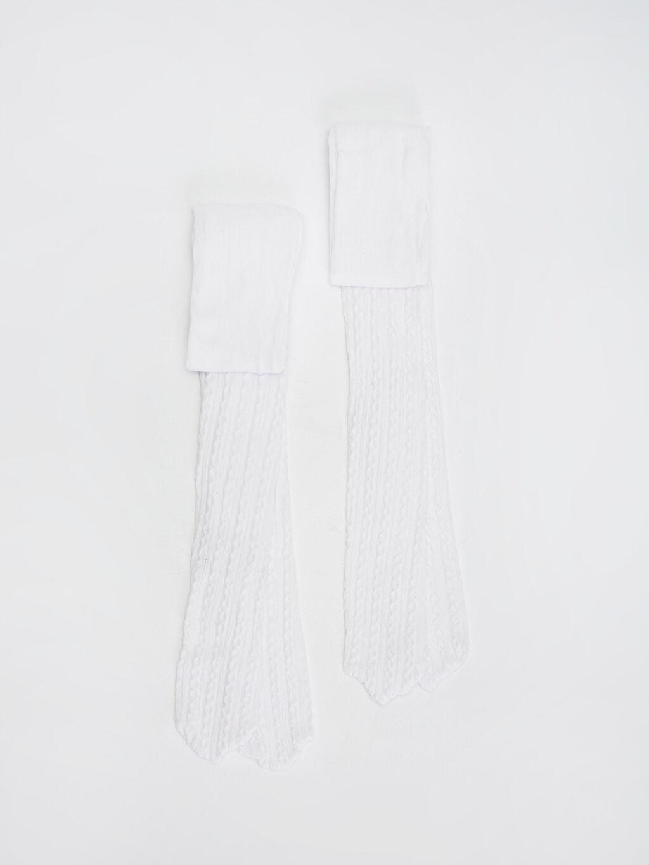 Beyaz Kız Çocuk Külotlu Çorap 2'li 0S4377Z4 LC Waikiki