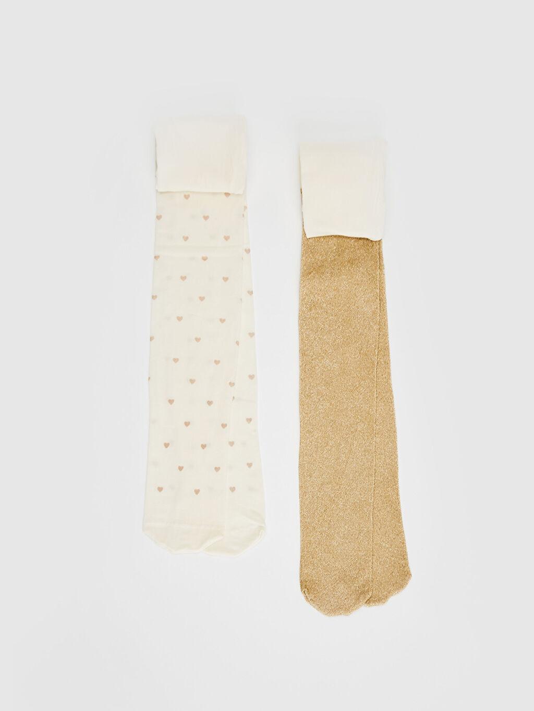 Ekru Kız Çocuk Külotlu Çorap 2'li 0S4379Z4 LC Waikiki