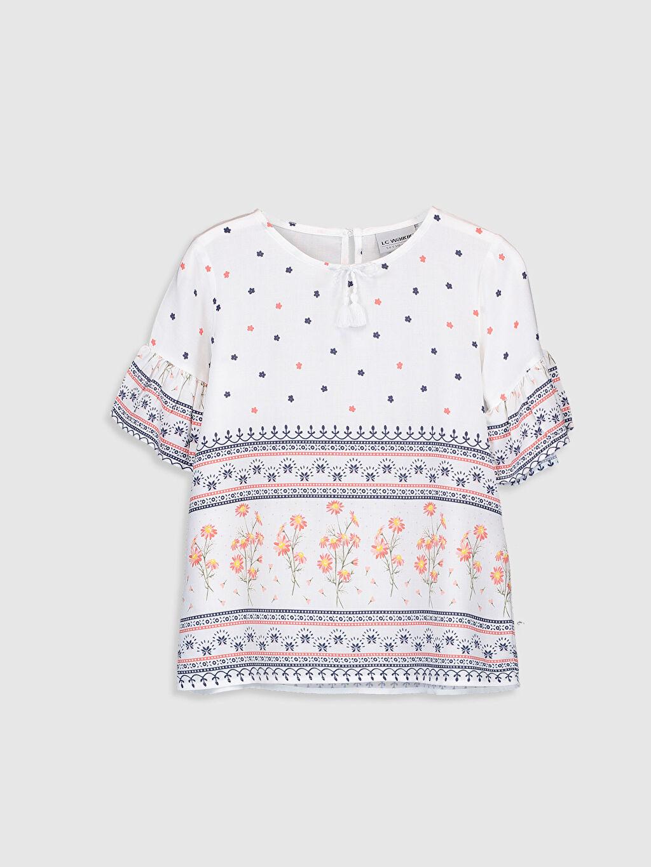 Beyaz Kız Çocuk Desenli Viskon Bluz 0S4380Z4 LC Waikiki