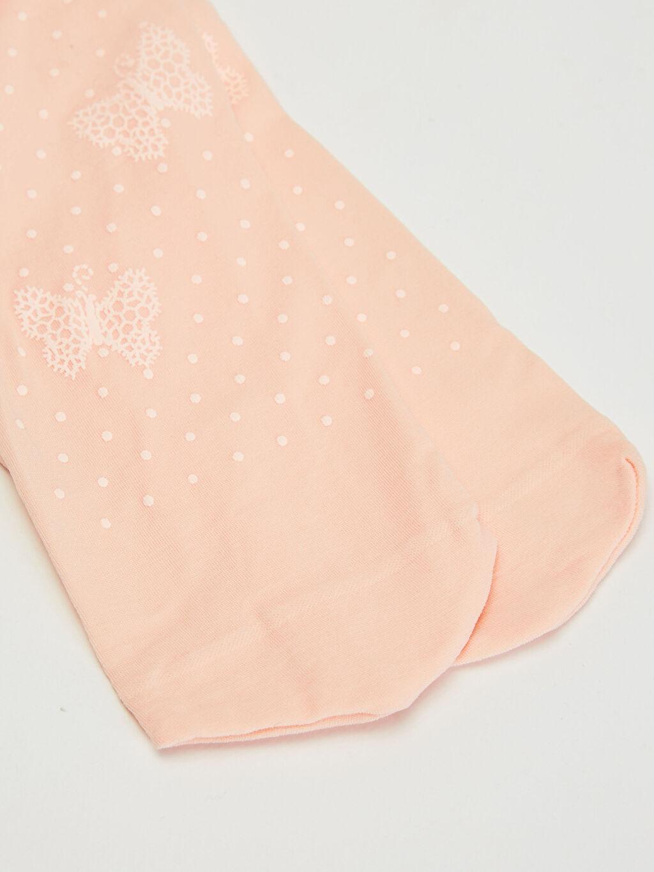 %92 Poliamid %8 Elastan  Kız Çocuk Desenli İnce Külotlu Çorap