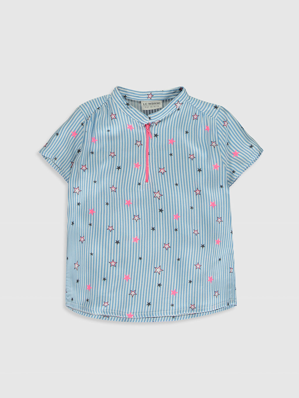 Mavi Kız Çocuk Desenli Viskon Bluz 0S4389Z4 LC Waikiki