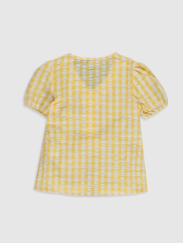 %100 Pamuk Standart Ekoseli Kısa Kol Bluz Kız Çocuk Düğme Detaylı Pamuklu Bluz