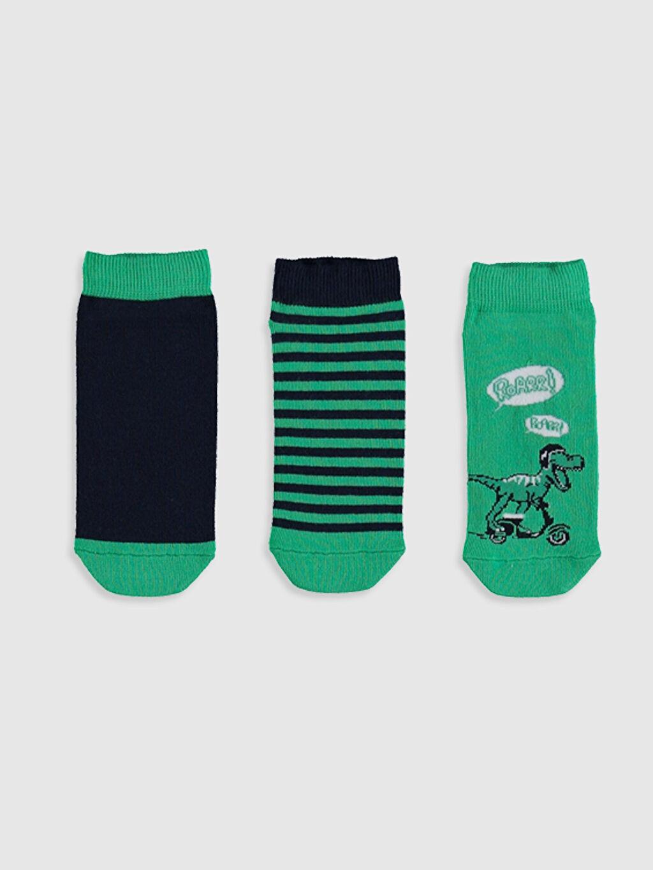 %85 Pamuk %13 Poliamid %2 Elastan  Erkek Çocuk Patik Çorap 3'lü