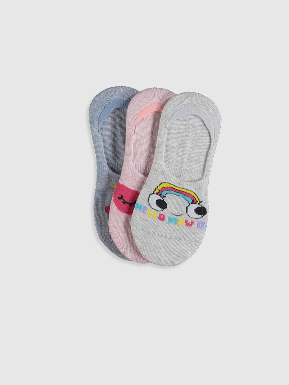 Gri Kız Çocuk Patik Çorap 3'lü 0S4481Z4 LC Waikiki