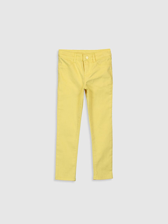 Sarı Kız Çocuk Skinny Gabardin Pantolon 0S4626Z4 LC Waikiki