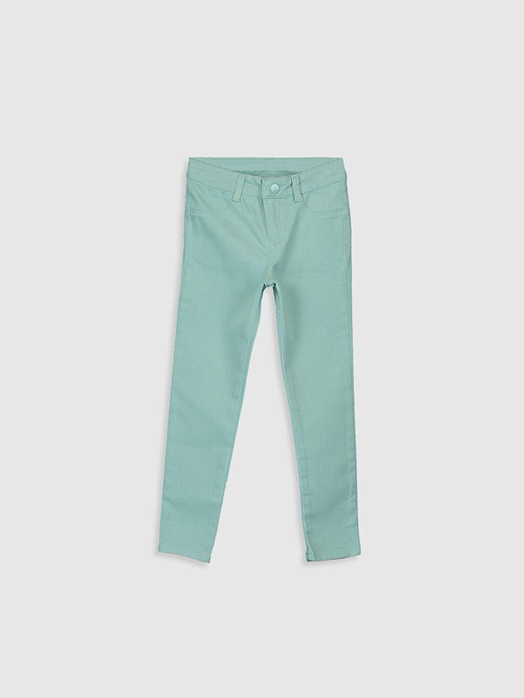 Turkuaz Kız Çocuk Skinny Gabardin Pantolon 0S4626Z4 LC Waikiki