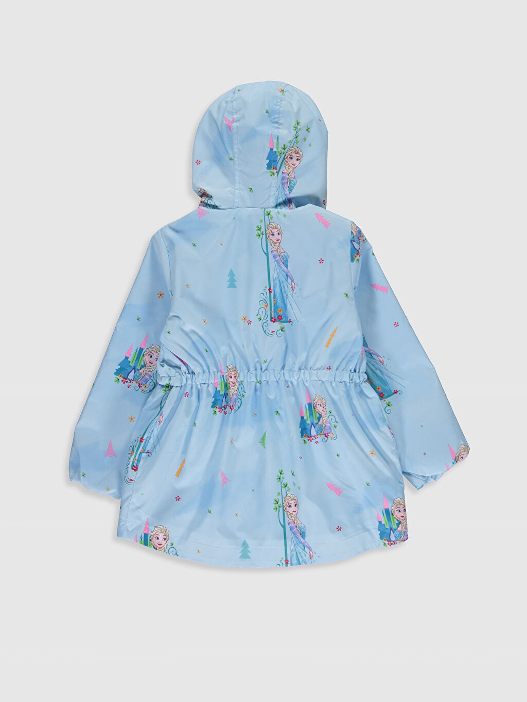 %100 Polyester %100 Pamuk Mont İnce Kız Çocuk Elsa Baskılı Kapüşonlu İnce Mont