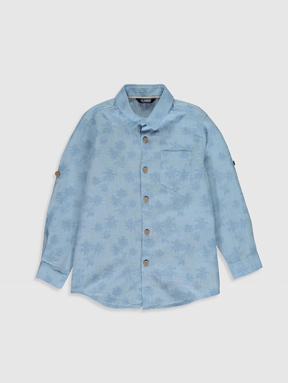 Mavi Erkek Çocuk Desenli Poplin Gömlek 0S4863Z4 LC Waikiki