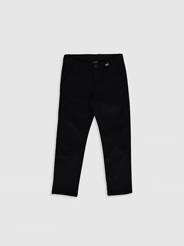 Siyah Erkek Çocuk Armürlü Slim Pantolon 0S4908Z4 LC Waikiki