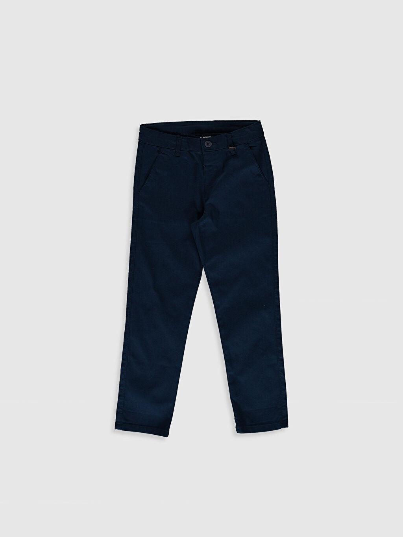 Lacivert Erkek Çocuk Armürlü Slim Pantolon 0S4908Z4 LC Waikiki