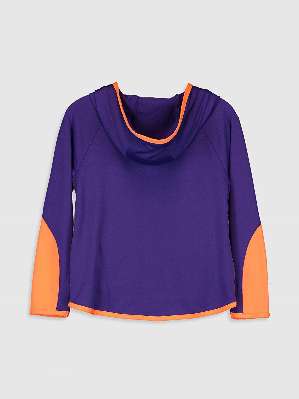 %93 Polyester %7 Elastan  Kız Çocuk Fermuarlı Kapüşonlu Sweatshirt