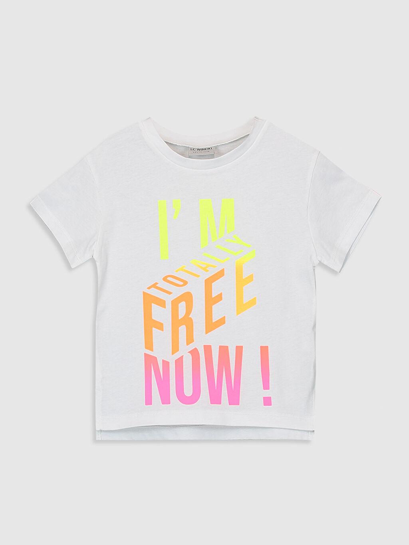 Beyaz Kız Çocuk Yazı Baskılı Pamuklu Tişört 0S4973Z4 LC Waikiki