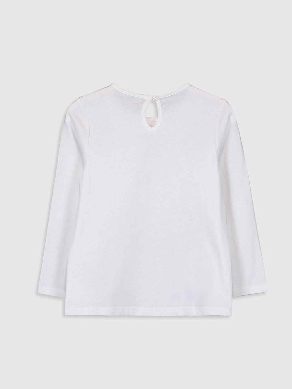 %100 Pamuk Standart Baskılı Tişört Diğer Uzun Kol Kız Çocuk Pul İşlemeli Pamuklu Tişört