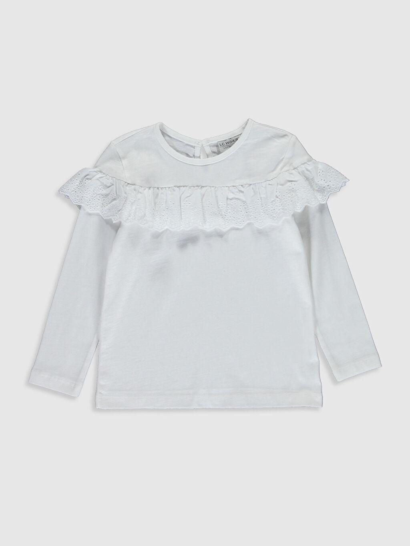 Beyaz Kız Çocuk Fırfır Detaylı Pamuklu Tişört 0S4982Z4 LC Waikiki