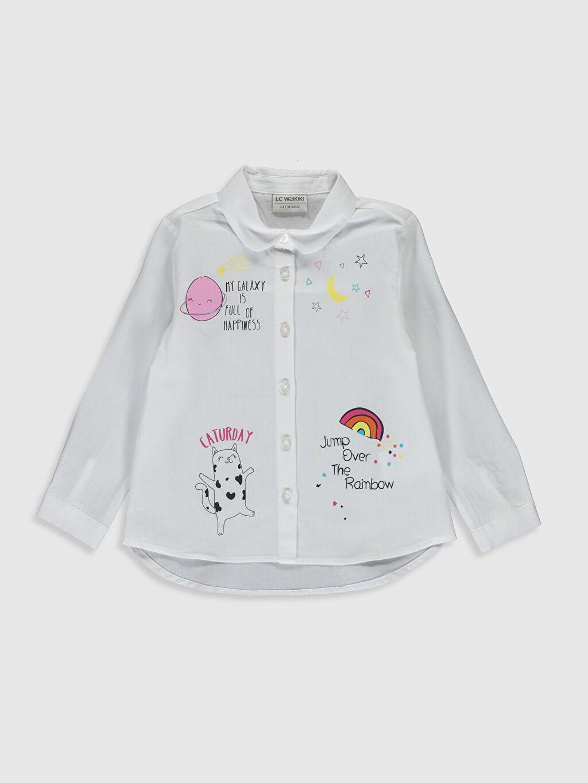 Beyaz Kız Çocuk Baskılı Poplin Gömlek 0S5044Z4 LC Waikiki