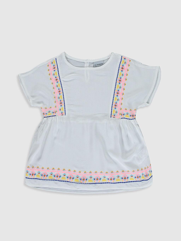 Ekru Kız Çocuk Desenli Viskon Bluz 0S5052Z4 LC Waikiki