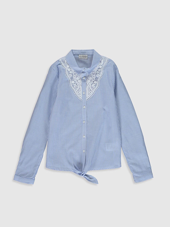 Mavi Kız Çocuk Dantel Detaylı Poplin Gömlek 0S5055Z4 LC Waikiki