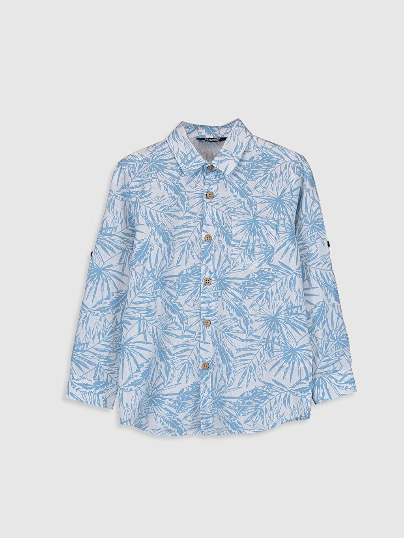 Mavi Erkek Çocuk Desenli Poplin Gömlek 0S5100Z4 LC Waikiki