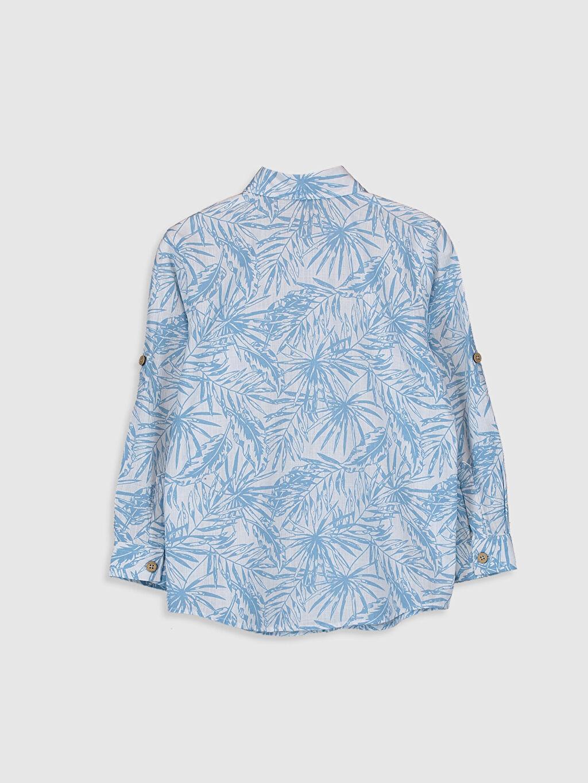 %100 Pamuk Standart Uzun Kol Desenli Erkek Çocuk Desenli Poplin Gömlek