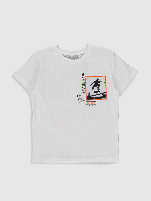 Beyaz Erkek Çocuk Baskılı Pamuklu Tişört 0S5105Z4 LC Waikiki