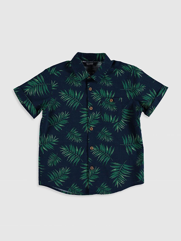 Lacivert Erkek Çocuk Desenli Poplin Gömlek 0S5134Z4 LC Waikiki