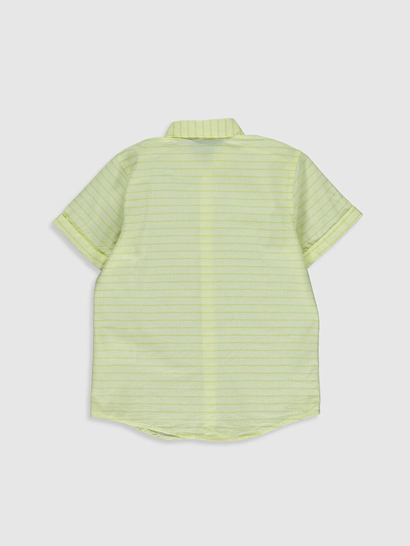 %100 Pamuk Çizgili Kısa Kol Standart Erkek Çocuk Çizgili Poplin Gömlek