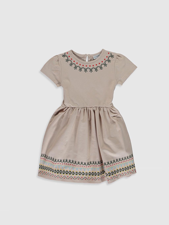Bej Kız Çocuk Baskılı Kısa Kollu Elbise 0S5190Z4 LC Waikiki
