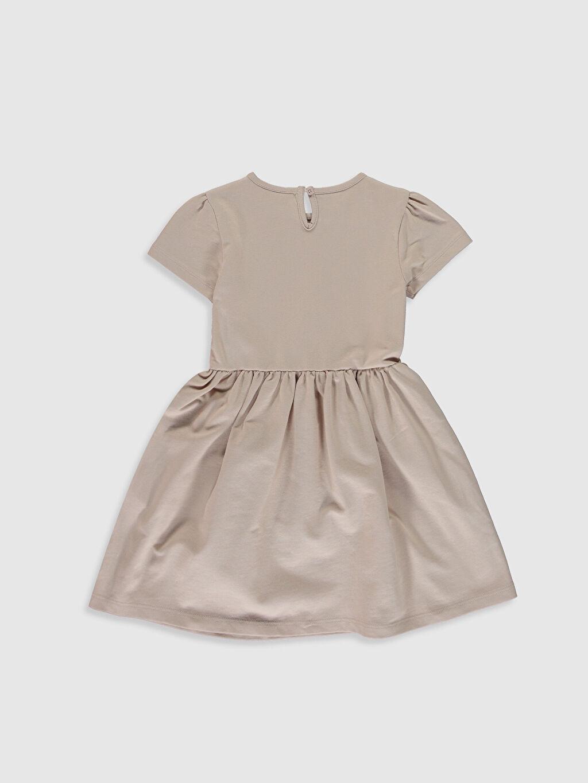%84 Pamuk %16 Polyester Diz Üstü Desenli Kız Çocuk Baskılı Kısa Kollu Elbise