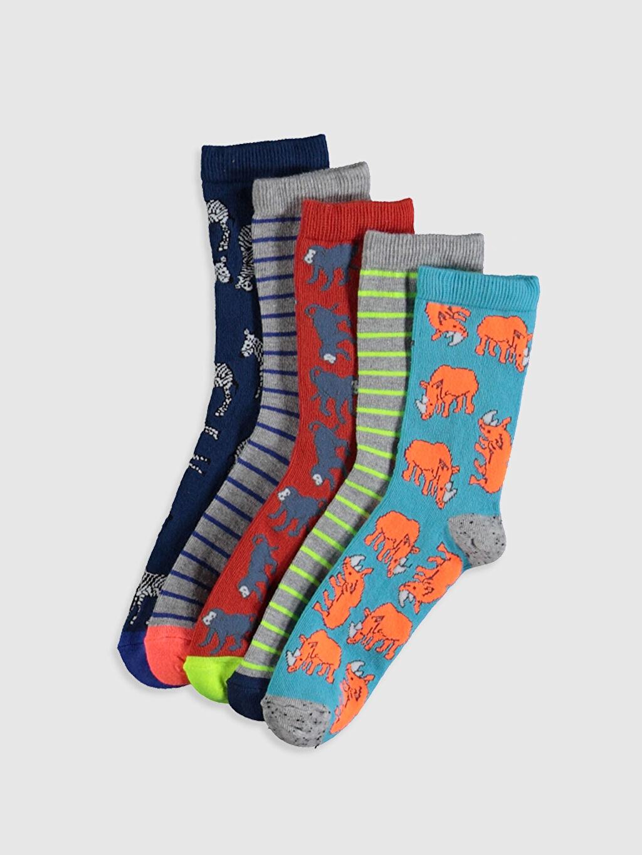 Çok Renkli Erkek Çocuk Soket Çorap 5'li 0S5220Z4 LC Waikiki