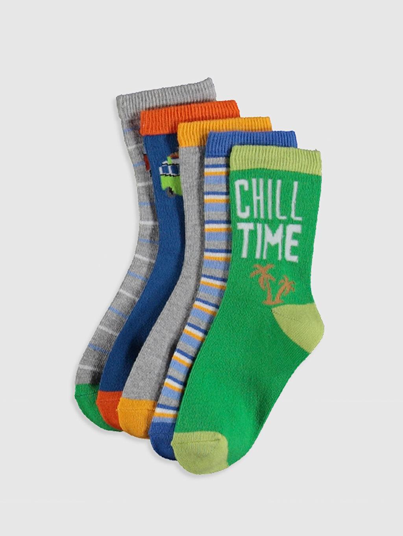 Çok Renkli Erkek Çocuk Soket Çorap 5'li 0S5234Z4 LC Waikiki