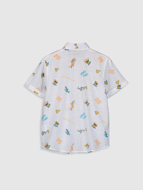%100 Pamuk Standart Desenli Kısa Kol Erkek Çocuk Desenli Poplin Gömlek