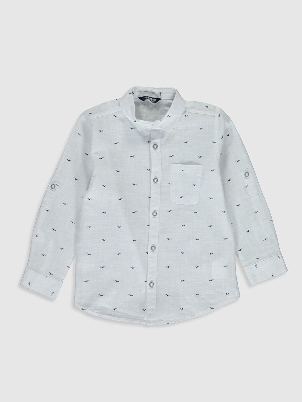 Beyaz Erkek Çocuk Desenli Poplin Gömlek 0S5291Z4 LC Waikiki