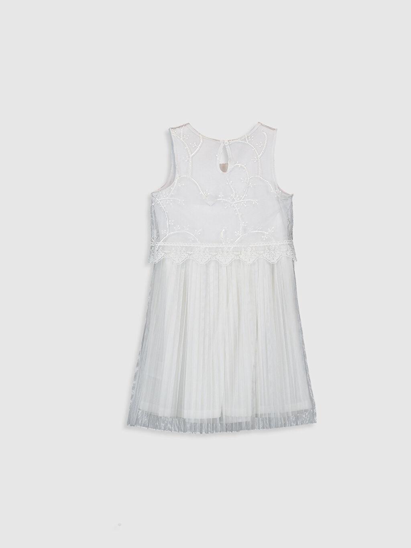 %100 Polyester %97 Pamuk %3 Elastan Diz Üstü Düz Kız Çocuk Dantelli Pileli Elbise