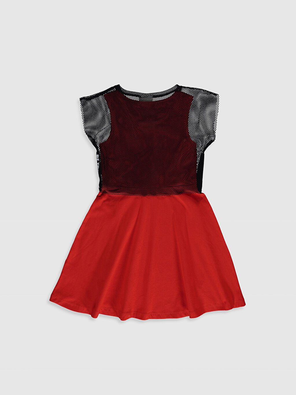 %100 Polyester Diz Üstü Düz Kız Çocuk Elbise ve File Tişört