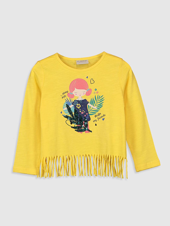 Sarı Kız Çocuk Baskılı Pamuklu Tişört 0S5518Z4 LC Waikiki