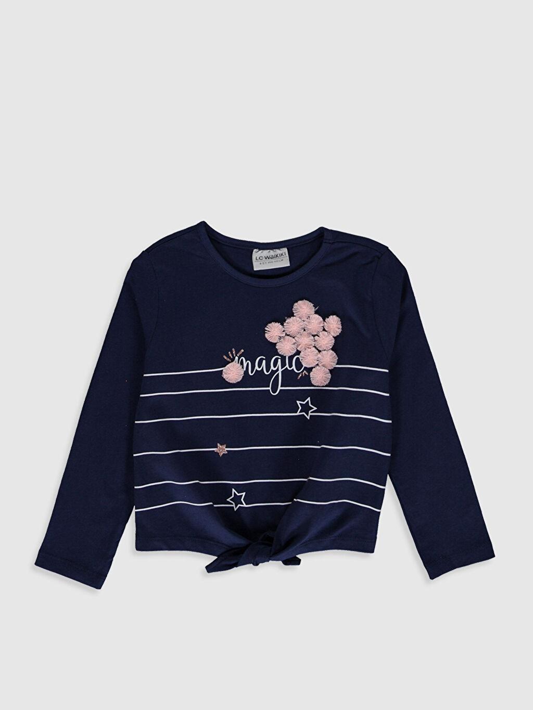 Lacivert Kız Çocuk Baskılı Pamuklu Tişört 0S5524Z4 LC Waikiki