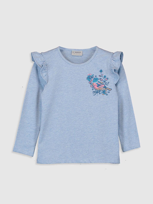 Mavi Kız Çocuk Fırfır Detaylı Tişört 0S5528Z4 LC Waikiki